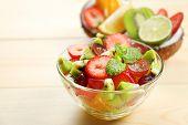 Fruit salad on table