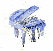 image of grand piano  - sketch grand piano on a white background - JPG