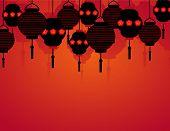 Chinese New Year hanging lanterns background