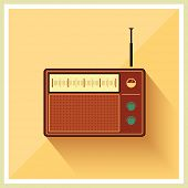 Retro radio receiver vintage vector