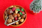 pic of pecan tree  - Mixed nuts in the shell for a Christmas treat on red poinsettia background - JPG
