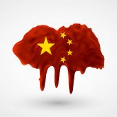 Flag of China painted colors
