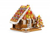 picture of gingerbread house  - Colorful gingerbread house isolated against white background - JPG