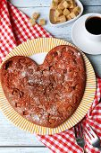 Homemade chocolate pie on table