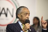 Rev Sharpton makes a point on stage