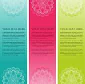 Colorful Indian henna mandala vertical banners