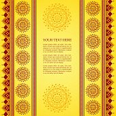 image of sari  - Colorful yellow and red traditional Indian henna mandala banner design with space for text - JPG