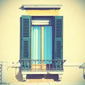 Typical italian wndow with shutters. Instagram style filtred
