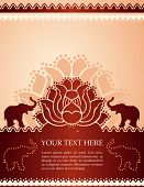 pic of indian elephant  - Traditional vintage Indian lotus and elephant background with space for text - JPG