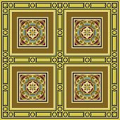Vintage ornamental tile set square with border