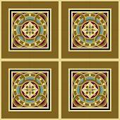 Seamless vintage ornamental tile set