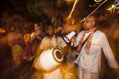 Hare Krishna Performers In Dia De Los Muertos Procession
