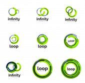 Set of infinity and loop business logos, large collection