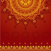 stock photo of traditional  - Traditional red and yellow Indian henna mandala design background - JPG