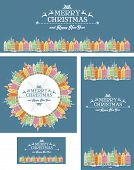 Set of Christmas cards with snowy old town