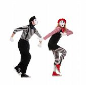 stock photo of mime  - funny portrait of mimes - JPG