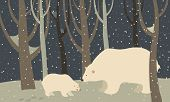 Polar bear and cub in the forest