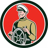 Fisherman Sea Captain Wheel Circle Retro