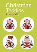 Christmas Teddy bears icons. Set of editable vector color illustrations.