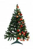 How to decorate a Christmas tree - Half empt and half full - Christmas tree isolated on white background