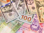 American Dollars And Grivnas Bank Notes