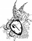 heraldic pegasus coat of arms crest shield