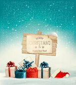Winter christmas with a sign, gift boxes and a santa hat background. Vector.