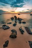 Beach at sunset at Phu Quoc island  in Vietnam