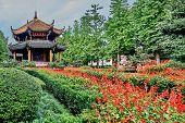 Chengdu, China - September 18, 2014: Garden of the Qingyang Gong taoist temple  in Chengdu Sichuan China