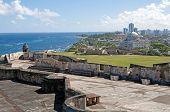 stock photo of san juan puerto rico  - Castillo de San Cristobal and Capitol building Old San Juan Puerto Rico - JPG