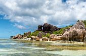 LA DIGUE, SEYCHELLES - 21 OCTOBER 2014 - Captivating Untouched Paradise with Clear Water Lagoon and Big Rock Formations at Anse Source d'Argent on 21 October 2014