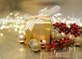 Christmas background with gift and decorations