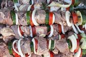 Raw shish kebab. Close up.