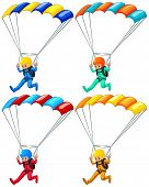 Set of four parachutists flying down