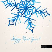 Blue Watercolor Hand-drawn Snowflake