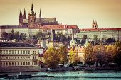 View of old town and Prague castle with river Vltava, Czech Republic