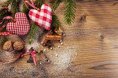 Christmas decoration idyllic compilation the wood background