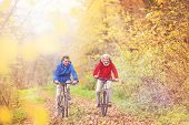 Постер, плакат: Active seniors ridding bike