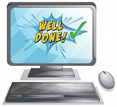 Well done message on a desktop