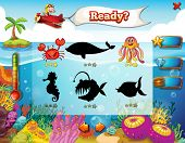 stock photo of game-fish  - Game elements for underwater game theme - JPG