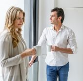 Man and woman at a coffee break