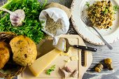 Ingredients Of Italian Risotto With Mushrooms