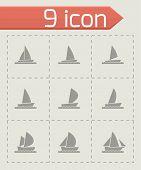 Vector sailboat icon set