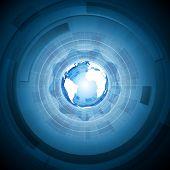 Bright technology blue background. Vector engineering illustration