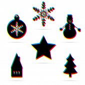 Set of six winter holiday flat icon
