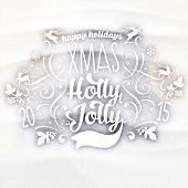 Christmas typographic label for Xmas and New Year holidays design. Calligraphic vector Decoration. Logo Template in a Snowdrift