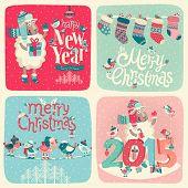 Christmas card set. Vector illustration.