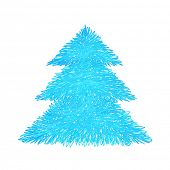 Scribble fir tree, Hand drawn design element, Vector sketch