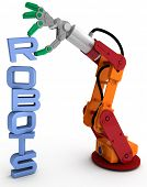picture of robotics  - Robot arm holding robots word as illustration for robotic concept issues - JPG
