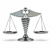 Medicine and justice. Caduceus symbol as scales. Conceptual image. 3d